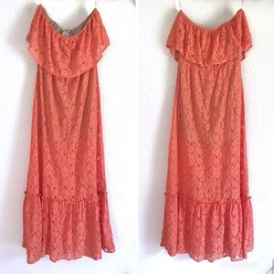 FLYING TOMATO Orange Lace Strapless Maxi Dress